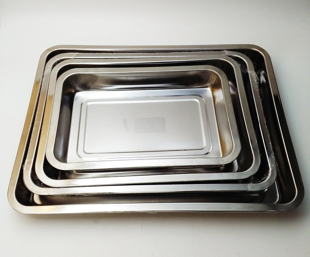 Hotel product Stainless steel deep serving tray/baking tray food serving tray/large size square shape plates