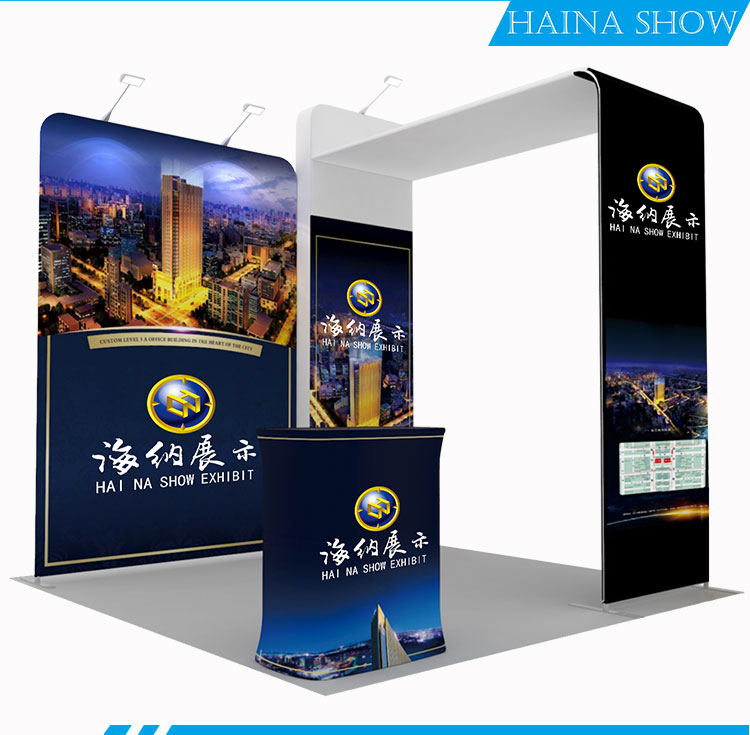 custom tension fabric pop up bag stand banner photo exhibition modular booth stands display for promotion event