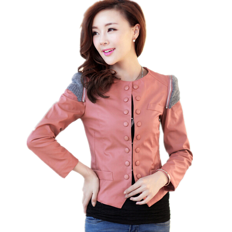 Jaqueta De Couro Feminina 2015 New Spring Autumn Women Brand Faux Soft Leather Jackets Pu 4 Color Blazer Sleeve Motorcycle Coat