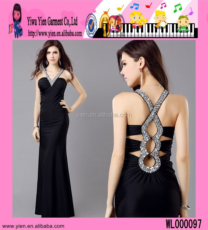 Factory Sale Black Velvet Evening Dress Diamante V Neck Newest ...