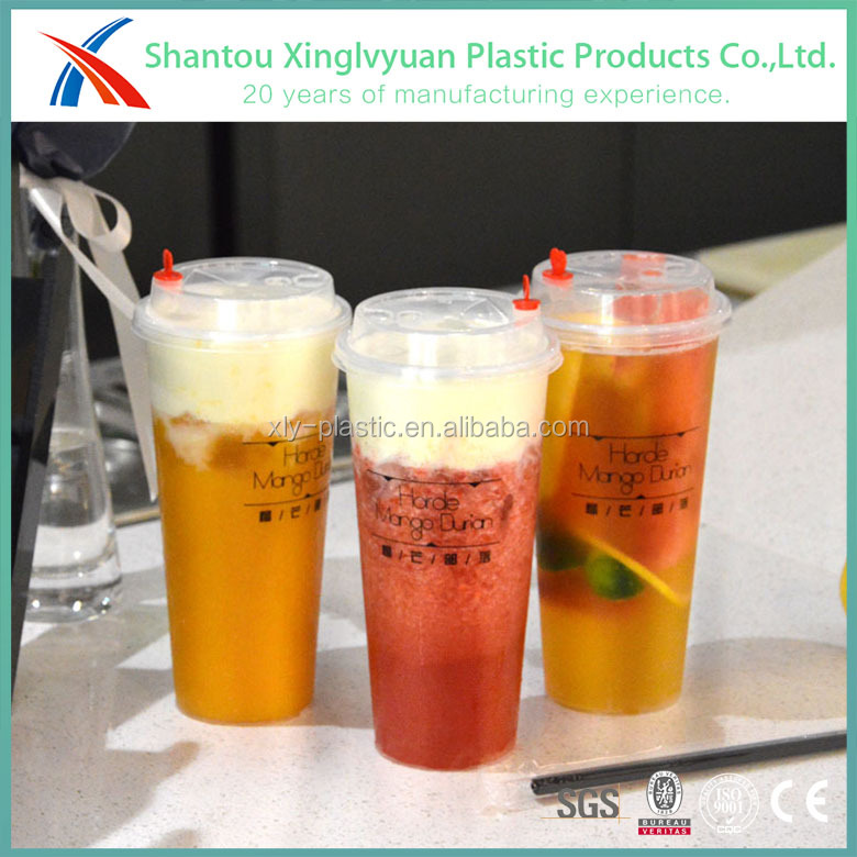 Low moq 700ml 24oz injection molding custom logo printed pp disposable plastic juice <strong>cup</strong> with cover
