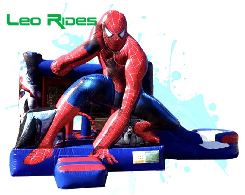 Cool spiderman commercial inflatable bouncer  water slide blower used bouncy  castle for sale
