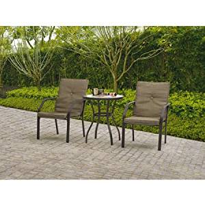 3-Piece Patio Bistro Set, Tan, Two Chairs Included, Patio Set, Table Set, Comfortable Bistro Set, Durable Powder-coated Steel Frame, Tempered Glass table Top, Home and Garden Furniture, BONUS e-book