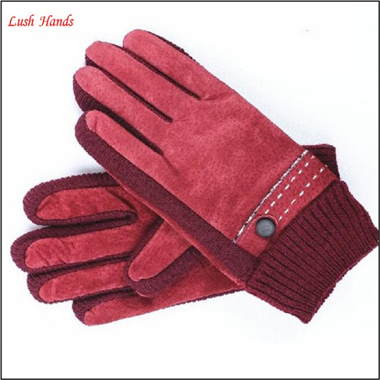 Women's Touchscreen Pigsuede Gloves with cuff Detail