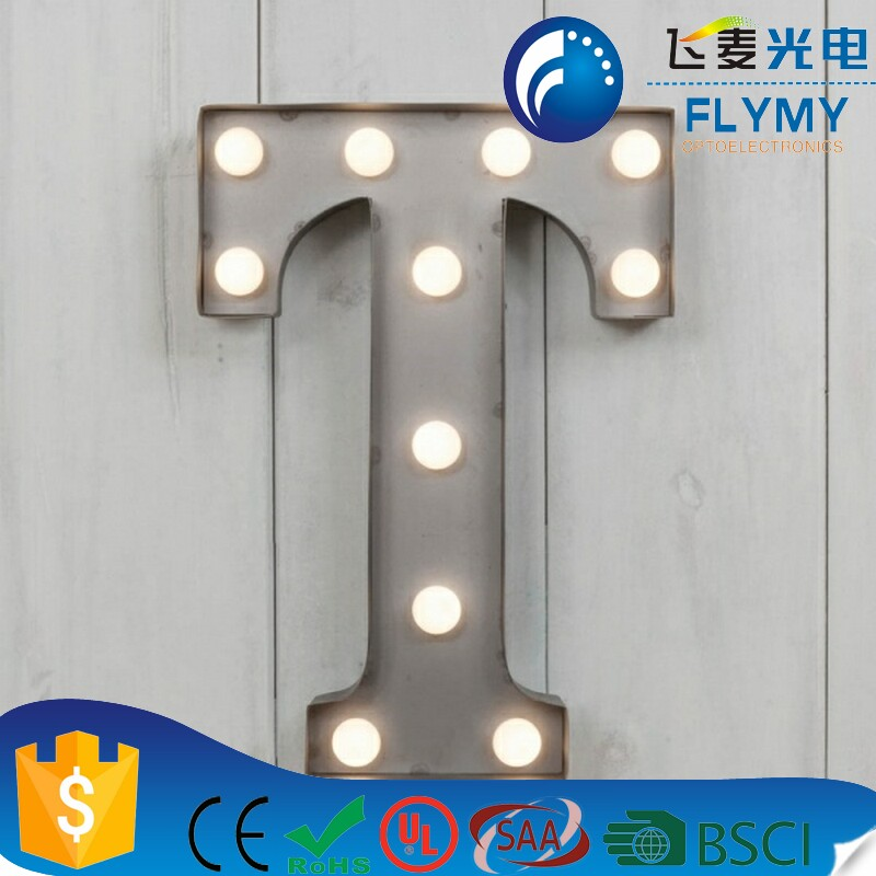 Alibaba Best Selling Decorative Light up Metal LED Alphabet T Sign Marquee LED Letter Lights Sign Party Wedding Decor