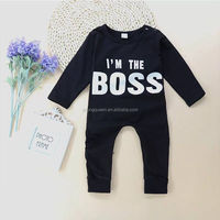 BBT29 2017 spring and autumn boy baby black climbing clothes children's clothing Romper dress can be opened black infant childre