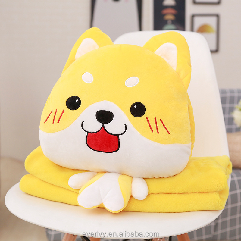 Cute Dog Design 2 In 1 Cartoon Plush Animal Travel Pillow Blanket