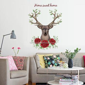 new design deer head wall sticker animal series decals 3d vinyl wall