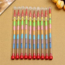 10pcs/set Newest 10 Colors Pop up Crayons Stacker Pencils Drawing Crayon Graffiti Pen Gift for Children Kids Stationary Suppies