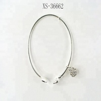 Silver Charm Bracelet Cuff Bangle Screw Off End With Rhinestone Charm