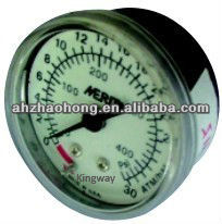 Stainless Steel Internals Plastic Window Glass Pushed in Pressure Gauge