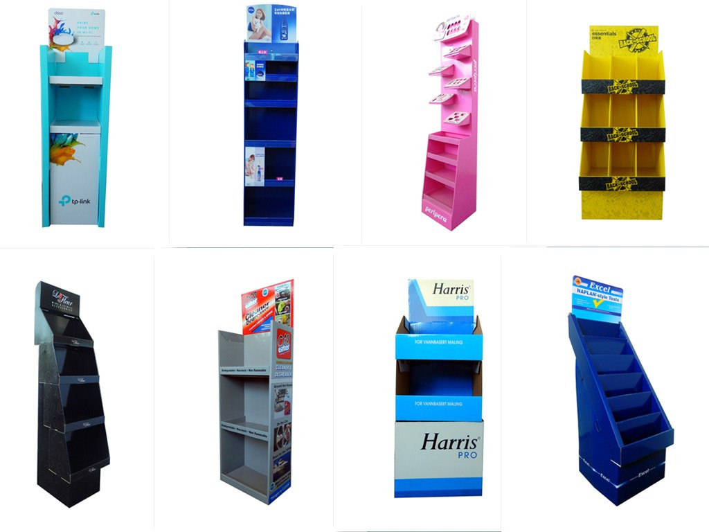 Foldable carton floor display stand for fruits candies
