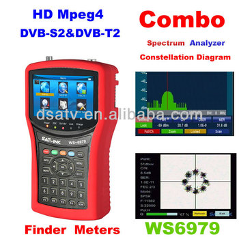 1pcs wholesale DVB-S2 & DVB-T2 HD Mpeg4 SIGNAL finder WS-6979 spectrum constellation digita satellite meter terrestrial finder