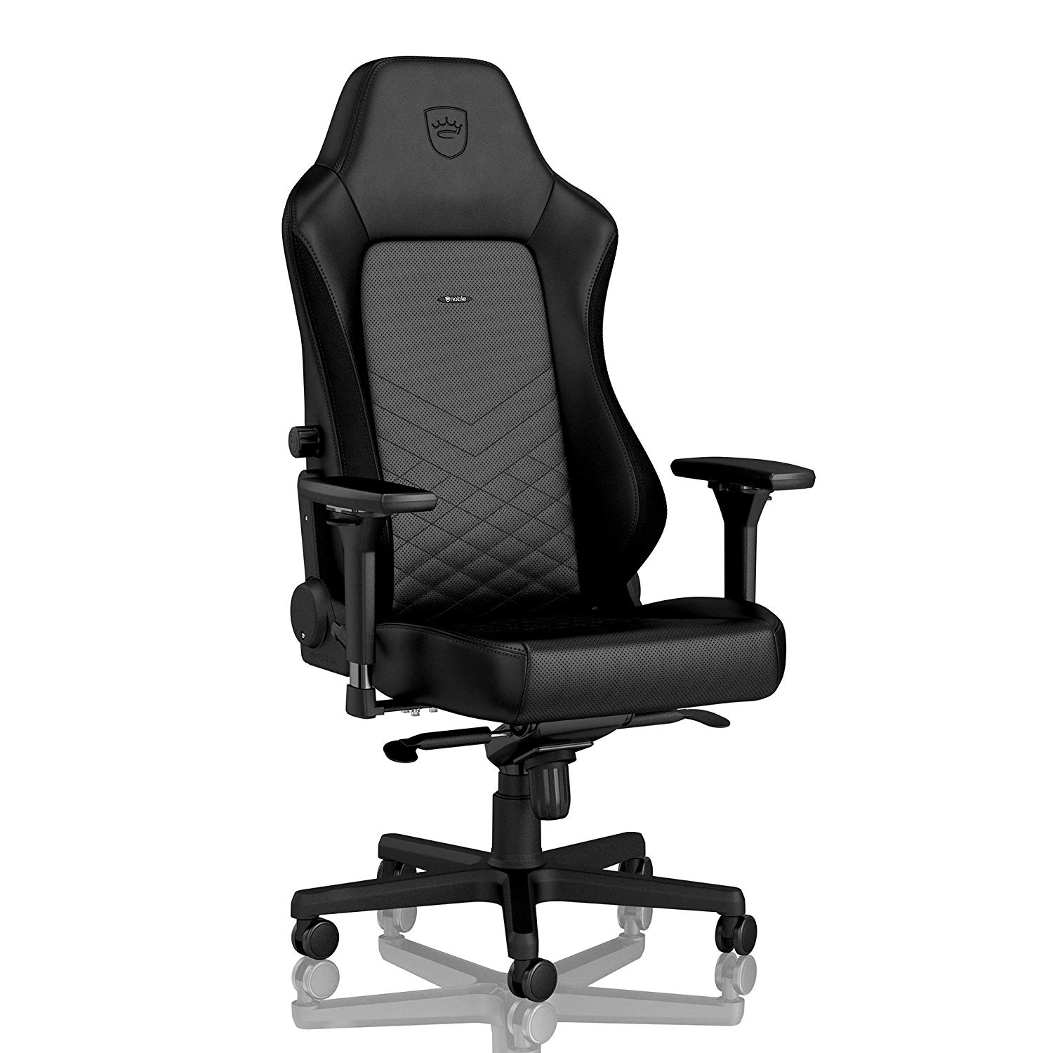 noblechairs Hero Gaming Chair - Office Chair - PU Faux Leather - Lumbar Support - 4D Armrests - Reclinable to 135° - 330 lbs - 2 Pillows - Black