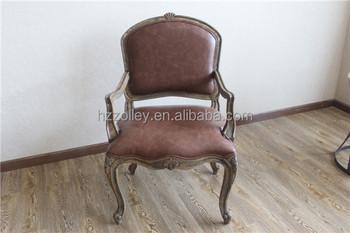 Barok Leren Stoel.Franse Land Stijl Vintage Meubels Chaise Lounge Bruin Lederen Hand