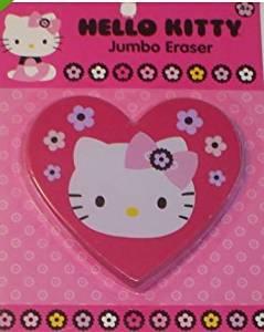 "Hello Kitty Jumbo Shaped Eraser ~ Kitty on Heart Shaped Eraser with Flowers (1 Eraser; 3.75"" x 3.5"")"