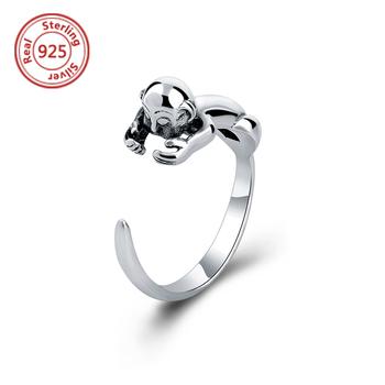 e1ee28b3693b Vintage Hippie 925 de plata de nudillo mono anillo Punk medio dedo Boho  Chic animales anillos