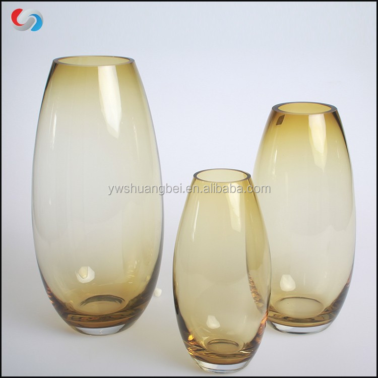 Wholesale Cheap Decorated Large Art Glassware Tall Oval Colored Yellow Bud Glass Vase