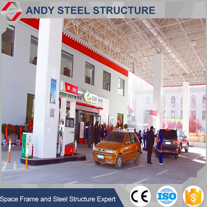 Petrol gas station of metal structure shed / roof structure