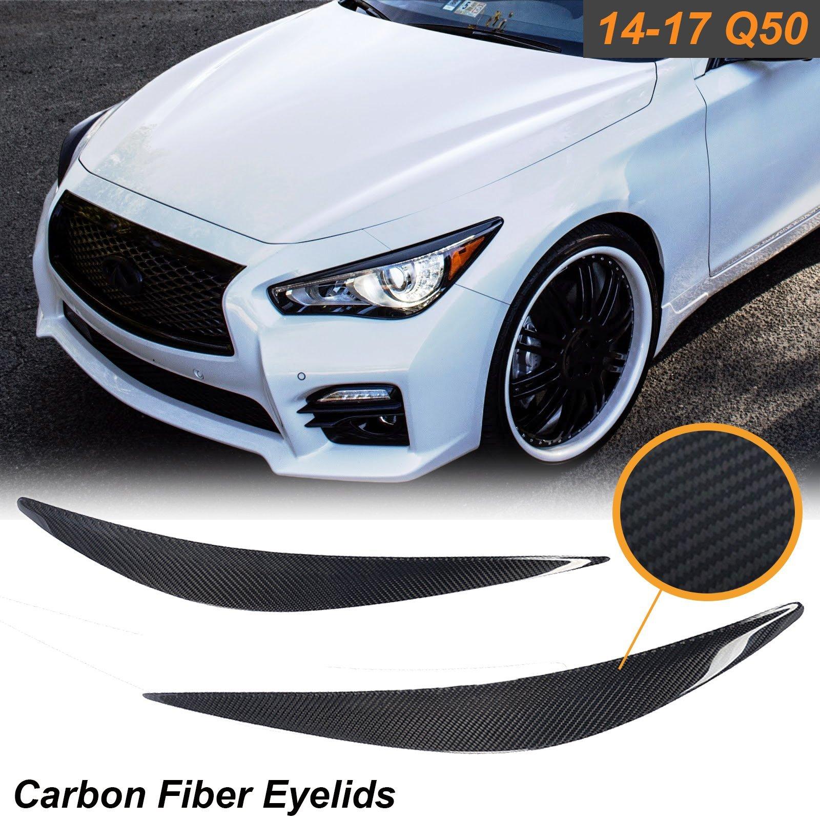 1 Set Carbon Fiber Eyelid Covers Headlight Eyebrow Lids Fit Infiniti Q50 2014-2017
