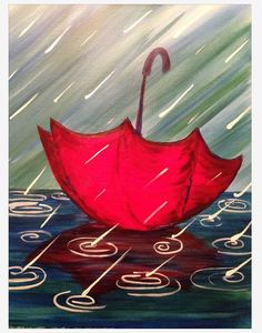 Digital printing canvas oil painting umbrella rainy day canvas wall art