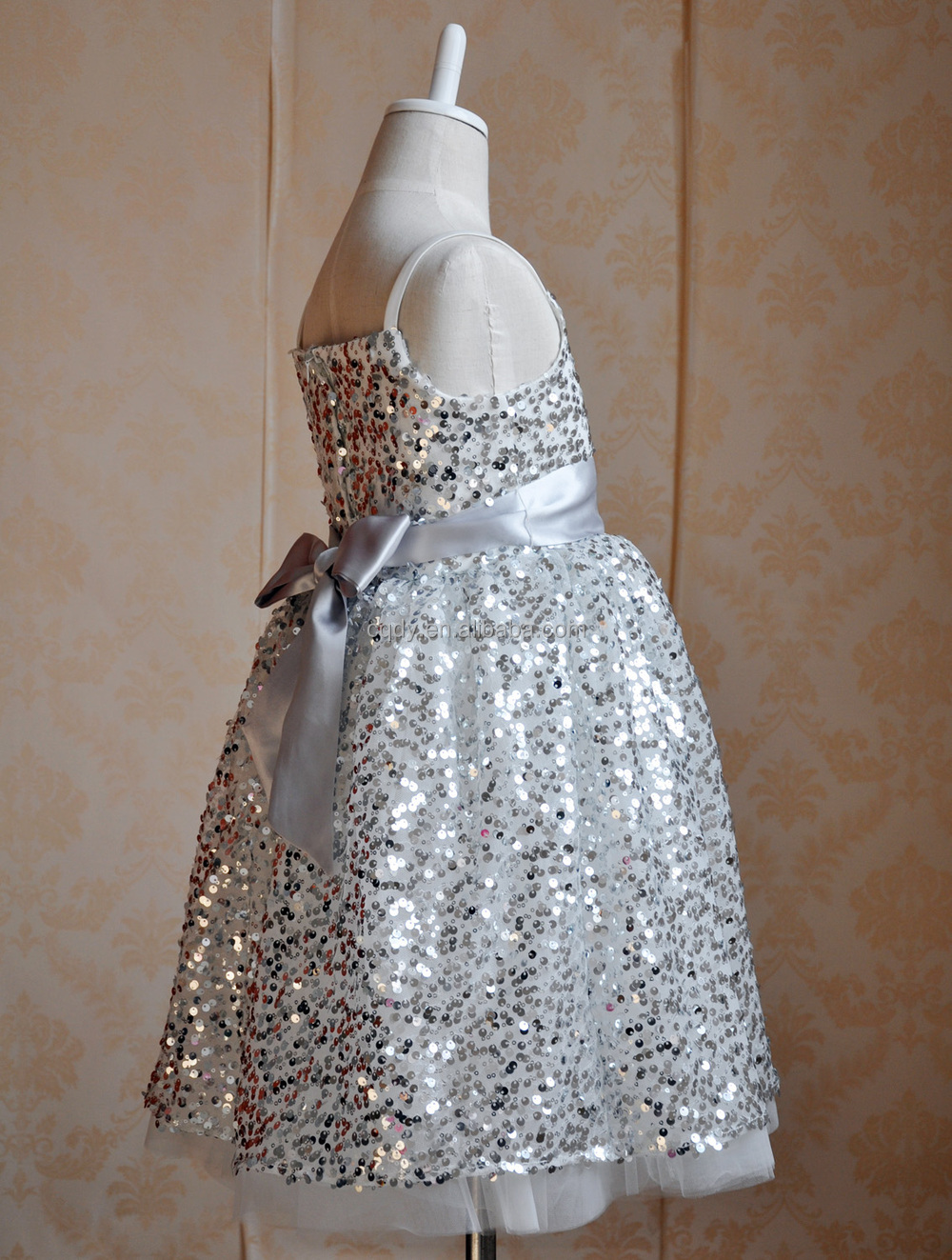 Luxury design shinning girls party dress, paillette embroidery ...