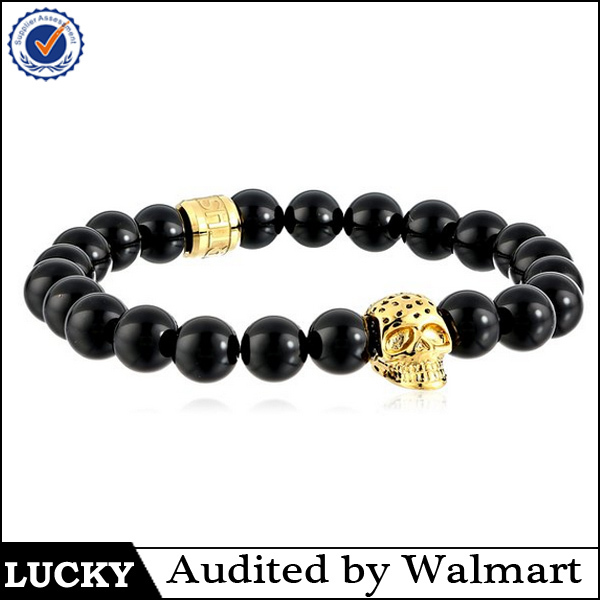 wholesale black bead gold north skull bracelet 2016