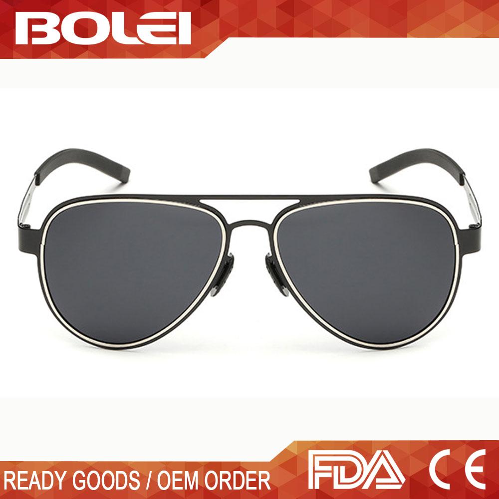 41345758c Qualidade superior Personalizado Homens Piloto Inoxidável Luxo óculos de Sol  Flexível