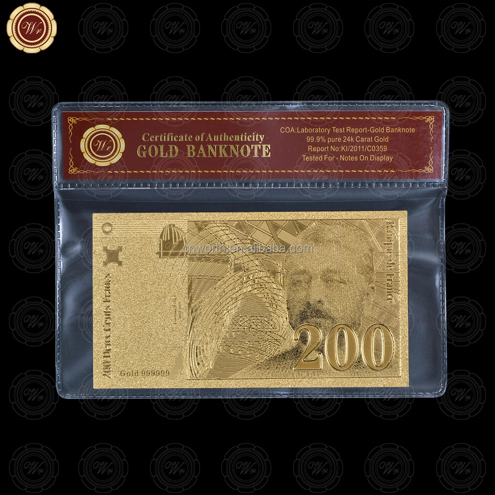 WR Quality 3D <strong>Design</strong> 99.9 Gold Plated 1994 Year's France 200 Franc Banknote with Plastic Frame