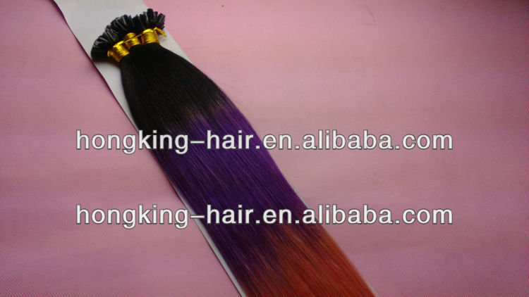Keratin hair u tip hair extenions ombre color