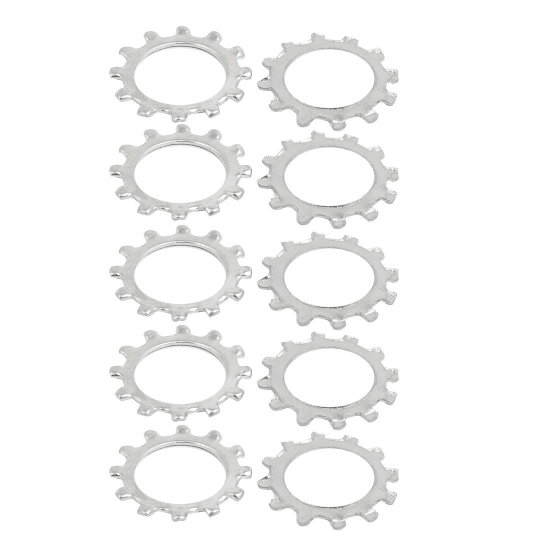 uxcell 6mm Inner Dia Stainless Steel External Tooth Lock Washer Silver Tone 30pcs