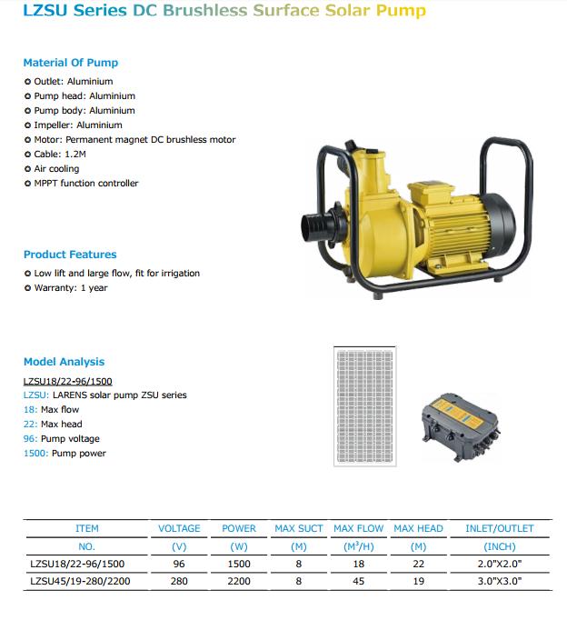 Lzsu Borstelloze Dc Solar Waterpomp Systeem Voor Irrigatie