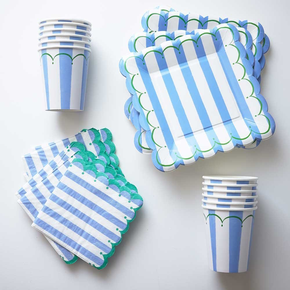 Blue Stripe Square Paper Plates Cups and Napkins ( 12 Plates 12 Cups  sc 1 st  Alibaba & Buy Navy Blue Paper Plates Cups Napkins - (12) Stripe Paper Plates ...