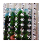 decorating crystal glass octagon bead garland chain curtains with circle rings