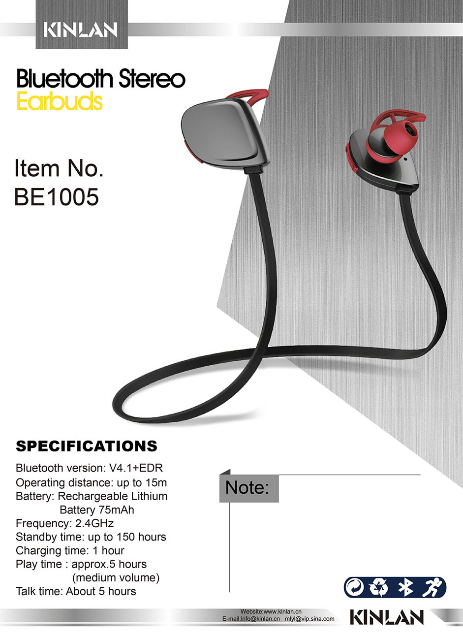 Kinlan New Item Bluetooth earphone Magnetic Adsorption wireless headphone HIFI stereo headset