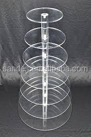 Transparent tiered cheap cake stands acrylic cupcake display stand