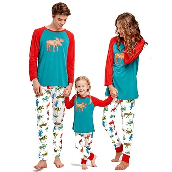Wholesale Reindeer Print Family Matching Clothes Christmas Pajamas Set