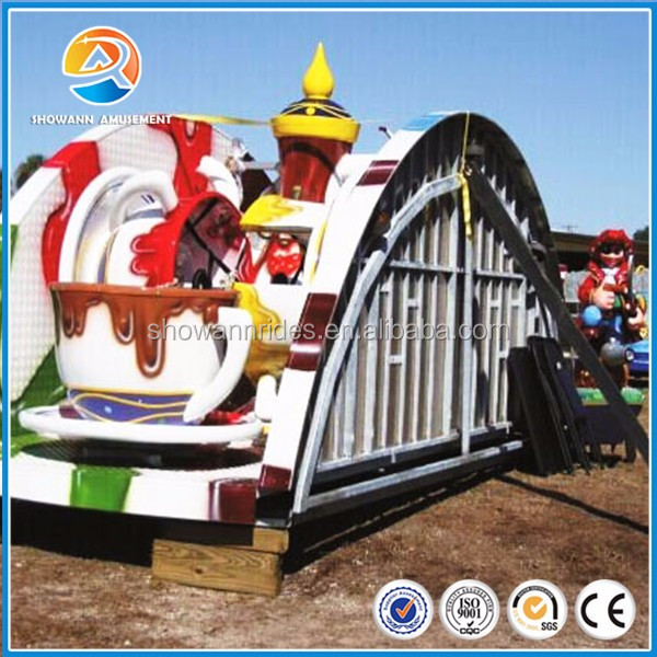 Rotating coffee cup ride for kids, trailer mounted amusement rides for sale