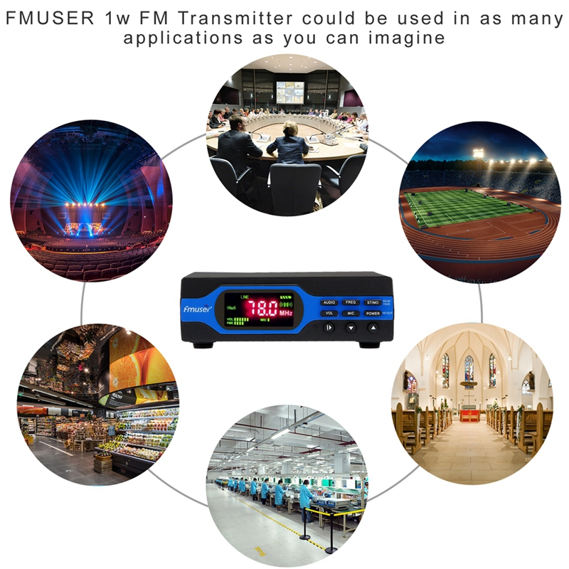 FMUSER FU-X01BK Portable 1W FM Radio Transmitter Set  For Small Radio Station Low Power FM Broadcast Transmitter+Short Antenna