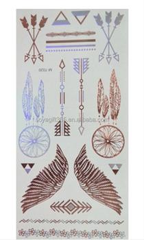 1b88d2d11 Gold Silver Angel Wings Arrows Metallic Temporary Tattoo Sticker ...
