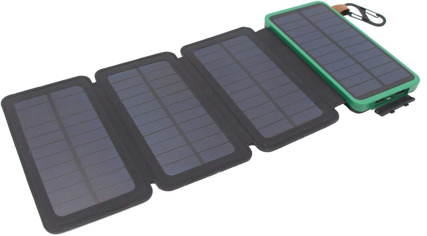 Itscool Solar Charger Power Bank 12000mAh, 9 LED, 4 Solar Panels,2 Waterproof USB for Smartphones and All 5V Devices (4 Panels Green)