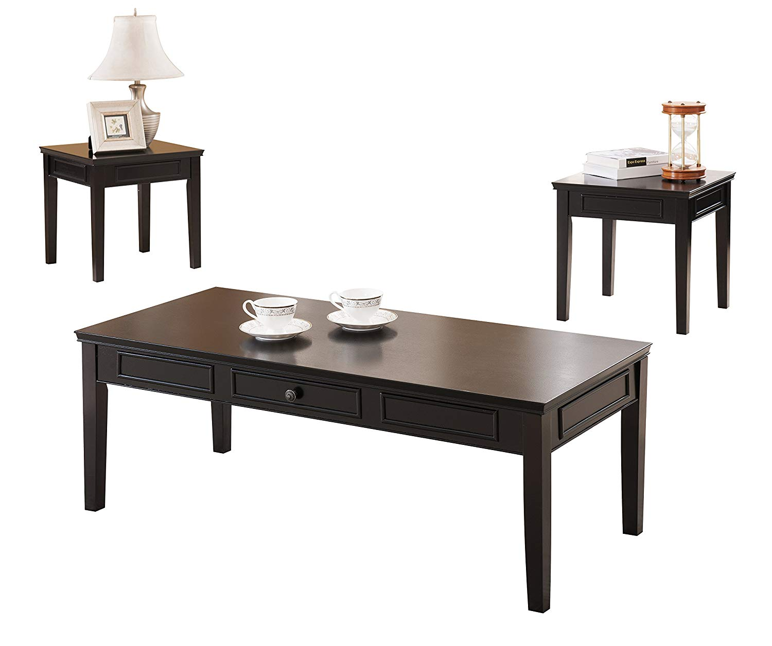 Pilaster Designs - 3 Pc. Black Finish Wood Coffee Table & 2 End Tables Occasional Set