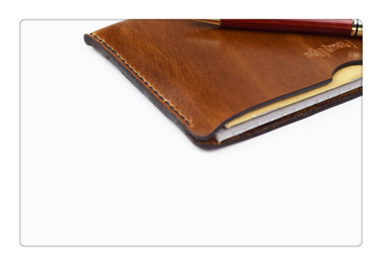 High Quality Genuine Leather Cashiers Cover Mimi Leather Notebook Sleeve for Notepads