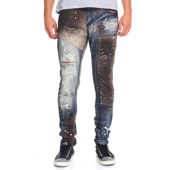 New style fashion custom color slim fit destroyed denim jeans trousers for men