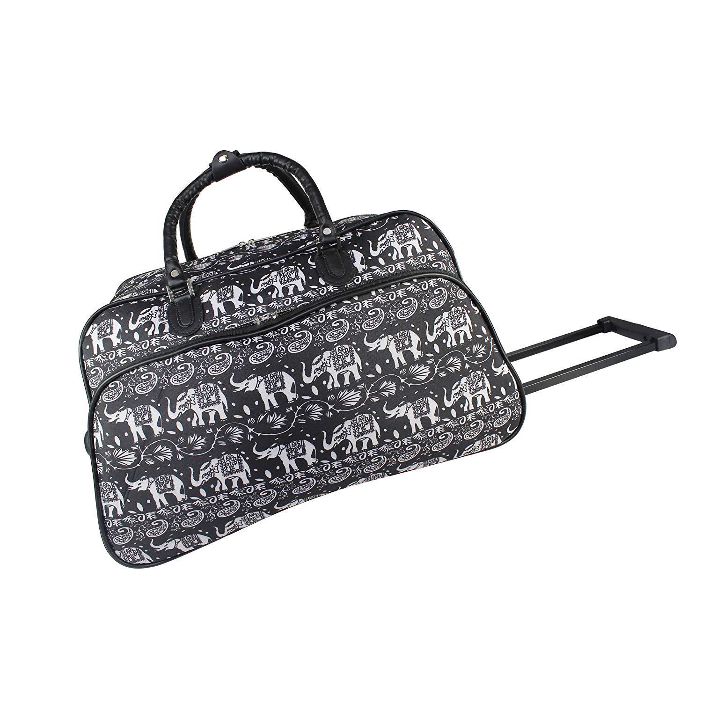Get Quotations · World Traveler World Traveler 21-inch Carry-on Rolling  Duffel Bag - Black White 8f094022c8