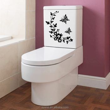 3d Custom Art Vinyl Flower Wall Stickers Decal 3d Bathroom Wall Tile  Stickers Removable Butterfly Toilet