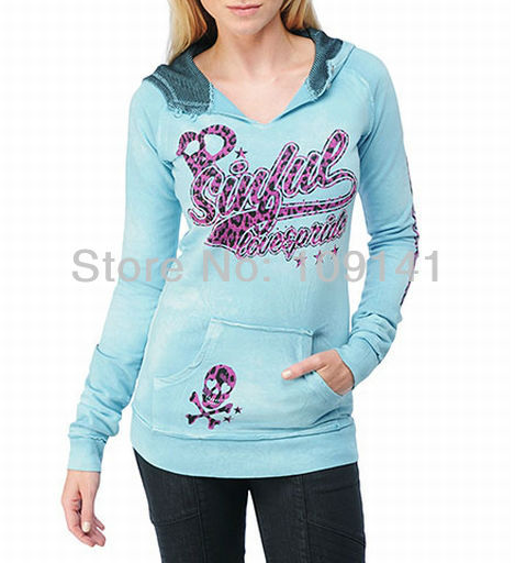 Free shipping skull wings printed varsity womens hoodies sweatshirts jackets in blue 1104