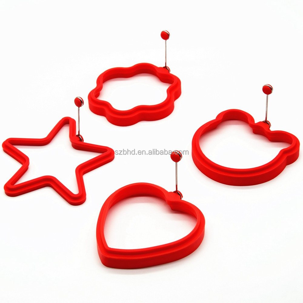 Cute Shape Heat resistant FDA Silicone Egg Ring, egg pancake ring,silicone egg cook rings