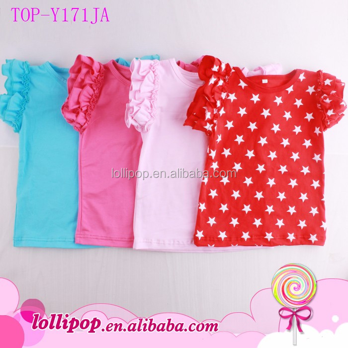 Summer Boutique Blank Girls Double Ruffle T Shirt Cotton Kids Flutter Sleeve Shirts Plain Flutter Toddler Boutique Tops