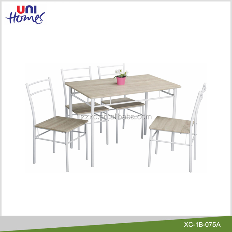Cheap Metal And Wooden Dining Table Set With 4 Chairs
